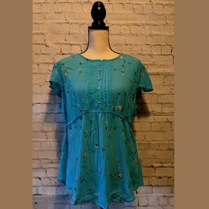 ANA Blue Tunic Floral Top Size MEDIUM